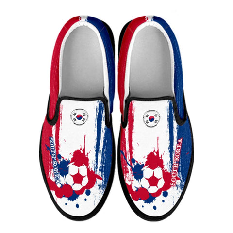South Korea National Flag [Soccer Paint Brush] - Canvas Slip-On Shoes