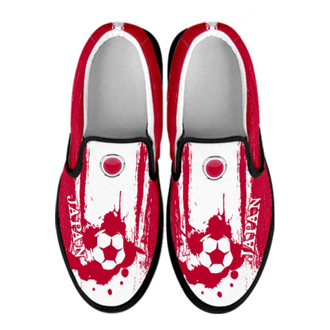 Japan National Flag [Soccer Paint Brush] - Canvas Slip-On Shoes
