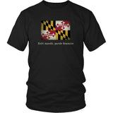 Maryland State Flag with Motto - Black T-Shirt