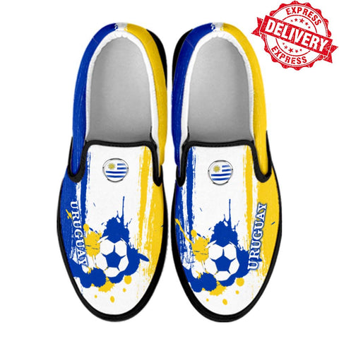 Uruguay National Flag [Soccer Paint Brush] - Canvas Slip-On Shoes - EXPRESS DELIVERY!