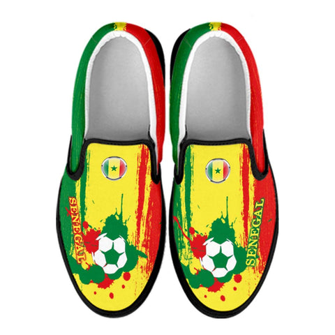 Senegal National Flag [Soccer Paint Brush] - Canvas Slip-On Shoes