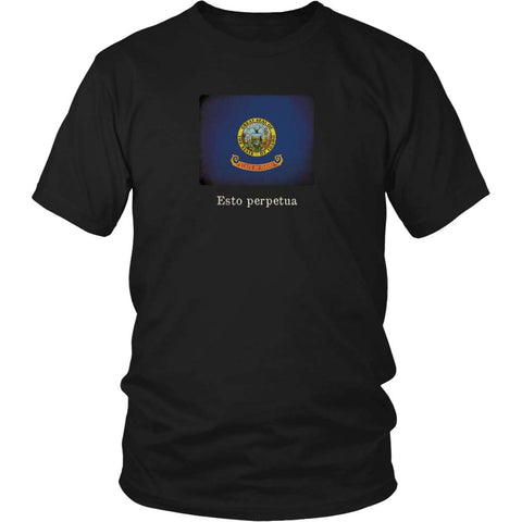 Idaho State Flag with Motto - Black T-Shirt