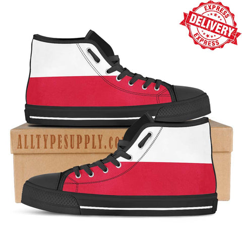 Poland National Flag - High & Low Top Canvas Shoes - EXPRESS DELIVERY!