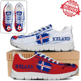 Iceland National Flag [Soccer Paint Brush] - Kid's Running Sneakers - EXPRESS DELIVERY!