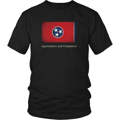 Tennessee State Flag with Motto - Black T-Shirt