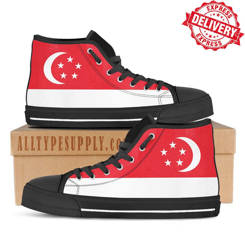 Singapore National Flag - High & Low Top Canvas Shoes - EXPRESS DELIVERY!