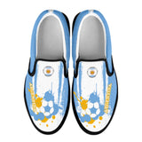 Argentina National Flag [Soccer Paint Brush] - Kid's Canvas Slip-On Shoes