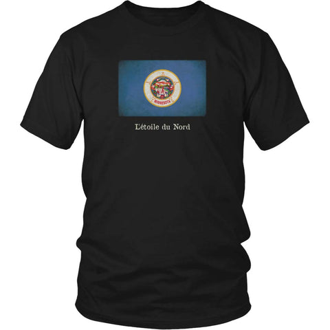 Minnesota State Flag with Motto - Black T-Shirt