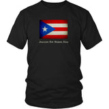 Puerto Rico State Flag with Motto - Black T-Shirt