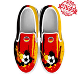 Germany National Flag [Soccer Paint Brush] - Kid's Canvas Slip-On Shoes - EXPRESS DELIVERY!