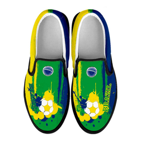 Brazil National Flag [Soccer Paint Brush] - Canvas Slip-On Shoes