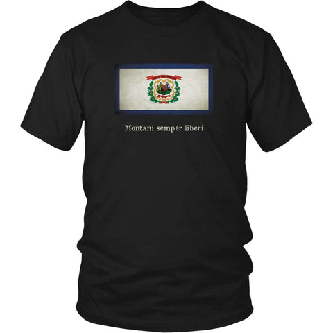 West Virginia State Flag with Motto - Black T-Shirt