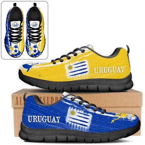 Uruguay National Flag [Soccer Paint Brush] - Kid's Running Sneakers