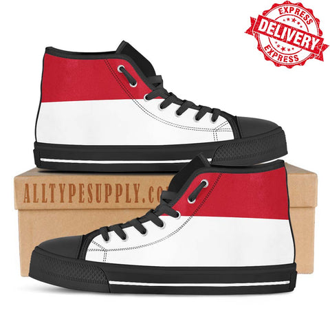 Monaco National Flag - High & Low Top Canvas Shoes - EXPRESS DELIVERY!