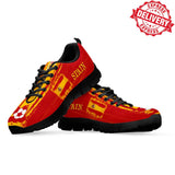 Spain National Flag [Soccer Paint Brush] - Kid's Running Sneakers - EXPRESS DELIVERY!