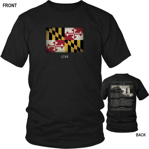 Maryland State Flag and Constitution - Black T-Shirt