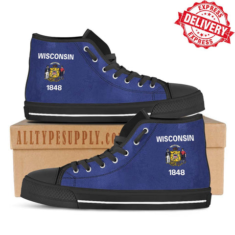 Wisconsin State Flag - High & Low Top Canvas Shoes - EXPRESS DELIVERY!