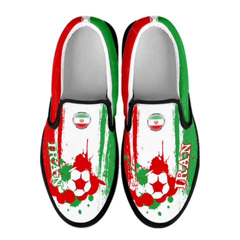 Iran National Flag [Soccer Paint Brush] - Canvas Slip-On Shoes