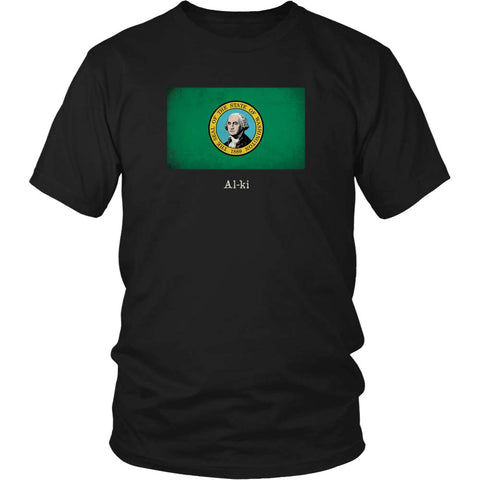 Washington State Flag with Motto - Black T-Shirt