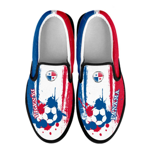 Panama National Flag [Soccer Paint Brush] - Canvas Slip-On Shoes