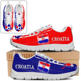 Croatia National Flag [Soccer Paint Brush] - Kid's Running Sneakers