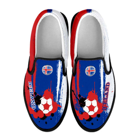 Iceland National Flag [Soccer Paint Brush] - Canvas Slip-On Shoes