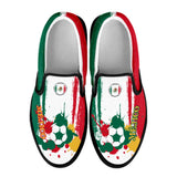 Mexico National Flag [Soccer Paint Brush] - Kid's Canvas Slip-On Shoes
