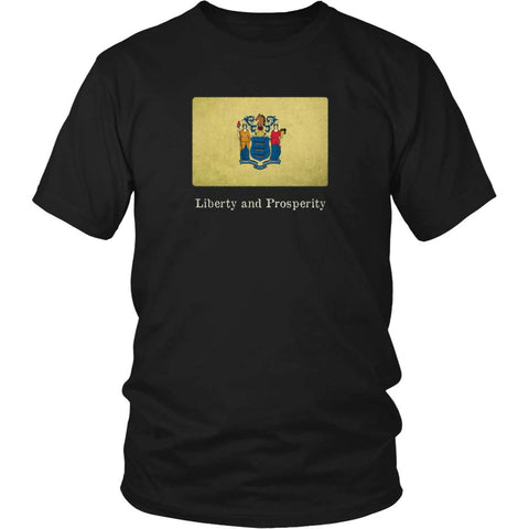 New Jersey State Flag with Motto - Black T-Shirt