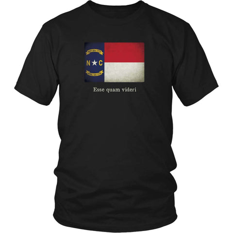 North Carolina State Flag with Motto - Black T-Shirt