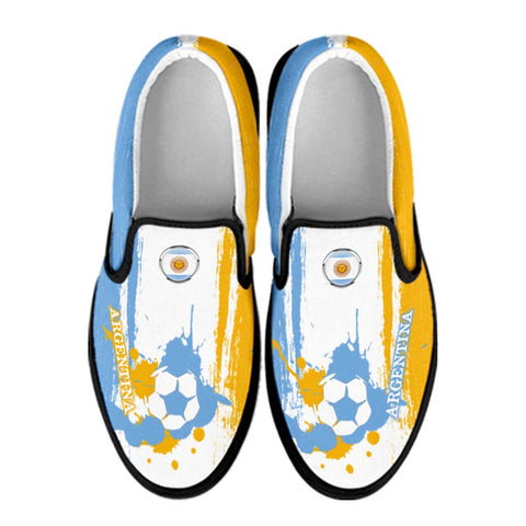 Argentina National Flag [Soccer Paint Brush] - Canvas Slip-On Shoes