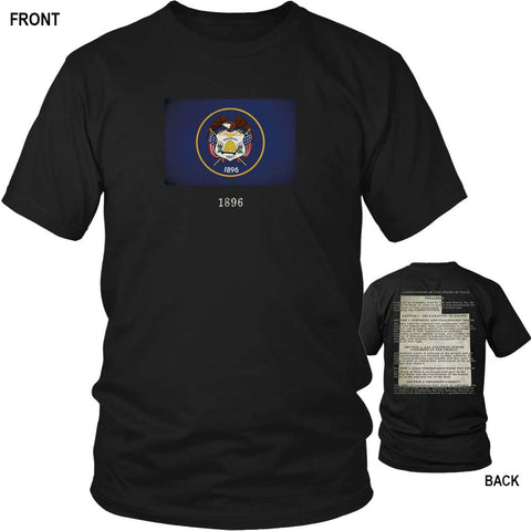 Utah State Flag and Constitution - Black T-Shirt