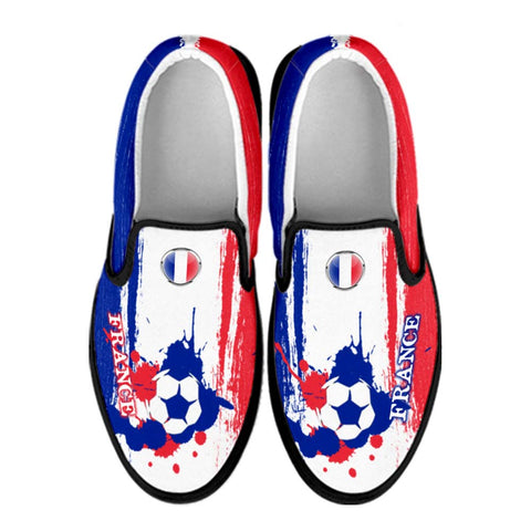 France National Flag [Soccer Paint Brush] - Canvas Slip-On Shoes