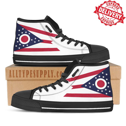 Ohio State Flag - High & Low Top Canvas Shoes - EXPRESS DELIVERY!