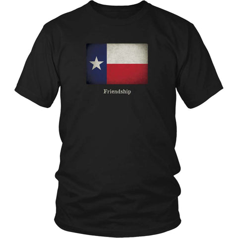 Texas State Flag with Motto - Black T-Shirt