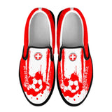 Switzerland National Flag [Soccer Paint Brush] - Women's Canvas Slip-On Shoes