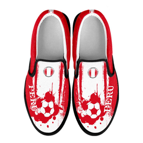 Peru National Flag [Soccer Paint Brush] - Kid's Canvas Slip-On Shoes