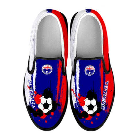 Australia National Flag [Soccer Paint Brush] - Canvas Slip-On Shoes