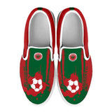 Morocco National Flag [Soccer Paint Brush] - Kid's Canvas Slip-On Shoes