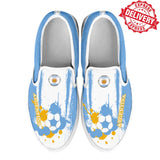 Argentina National Flag [Soccer Paint Brush] - Kid's Canvas Slip-On Shoes - EXPRESS DELIVERY!