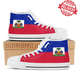 Haiti National Flag - High & Low Top Canvas Shoes - EXPRESS DELIVERY!