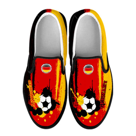 Germany National Flag [Soccer Paint Brush] - Canvas Slip-On Shoes