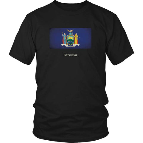 New York State Flag with Motto - Black T-Shirt
