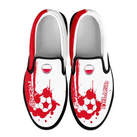 Poland National Flag [Soccer Paint Brush] - Canvas Slip-On Shoes