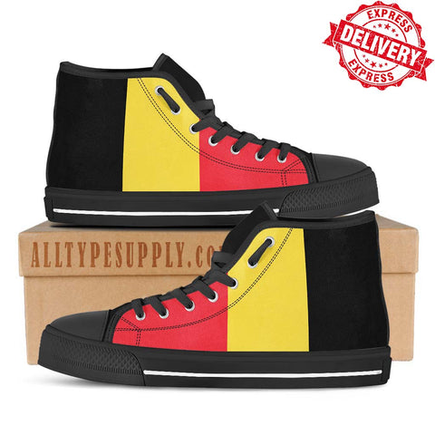 Belgium National Flag - High & Low Top Canvas Shoes - EXPRESS DELIVERY!
