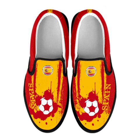 Spain National Flag [Soccer Paint Brush] - Canvas Slip-On Shoes