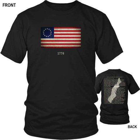 Original Thirteen American Colonies with Betsy Ross Flag and Declaration of Independence - Black T-Shirt