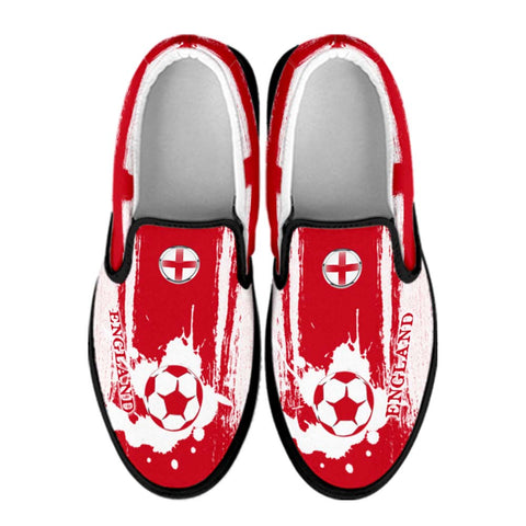 England National Flag [Soccer Paint Brush] - Canvas Slip-On Shoes