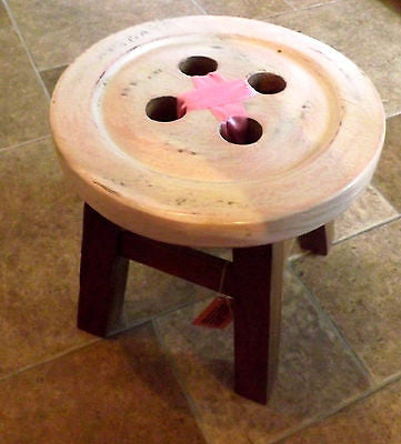 SHABBY CHIC RUSTIC WOODEN CHILD'S GIRLS PINK SHORT BUTTON STOOL ACACIA WOOD - Klass Home