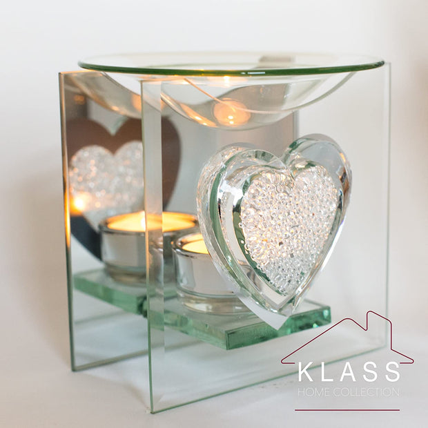 Sparkling Heart Glass Oil Burner / Essential Oil Burner Tea Light Candle Holder