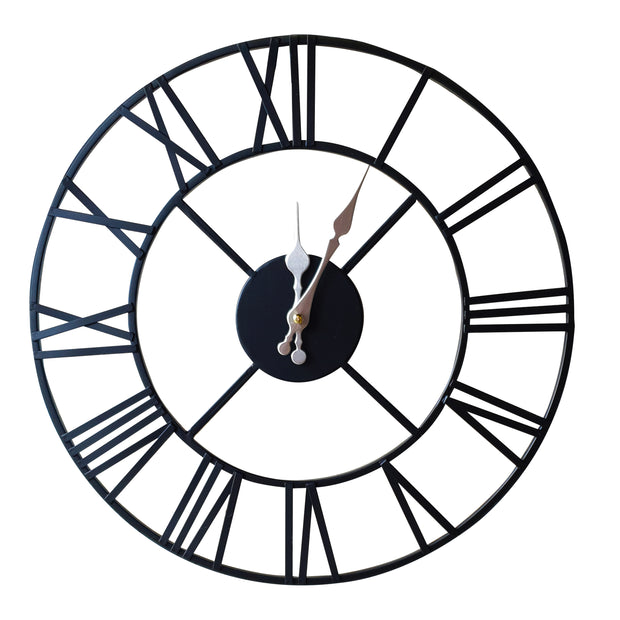 Vintage Metal Skeleton Clock- Black